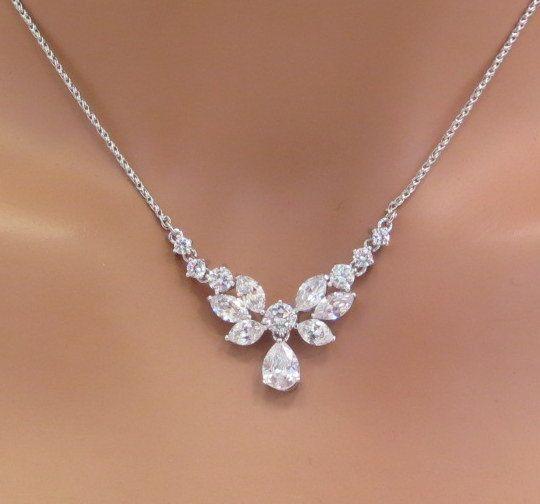 Simple bridal necklace Bridal Rhinestone necklace Dainty Crystal .