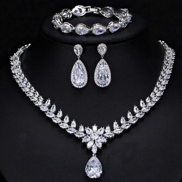 CWWZircons 3pcs Women Wedding Jewellery CZ Diamond Leaf Drop .