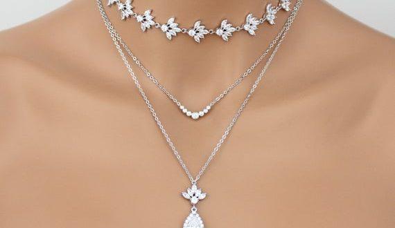 Layered Bridal necklace Bridal jewelry Layered choker necklace | Et