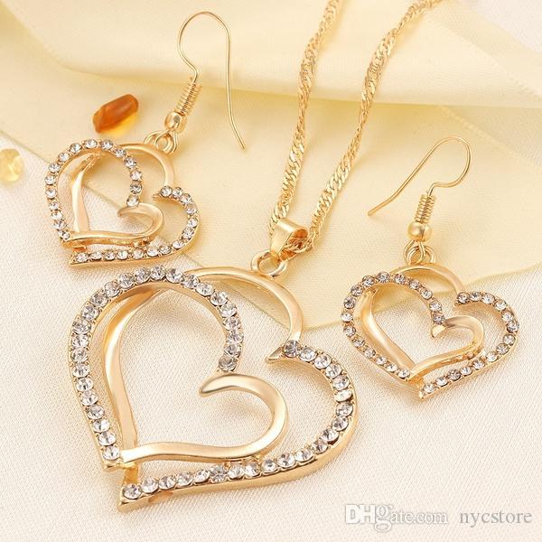 2020 Luxury Wedding Necklace And Earring Set Fashion Gold .