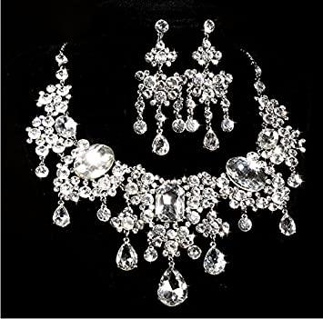 Amazon.com : Crystal Diamond Bride Bridal Wedding Necklace Band .