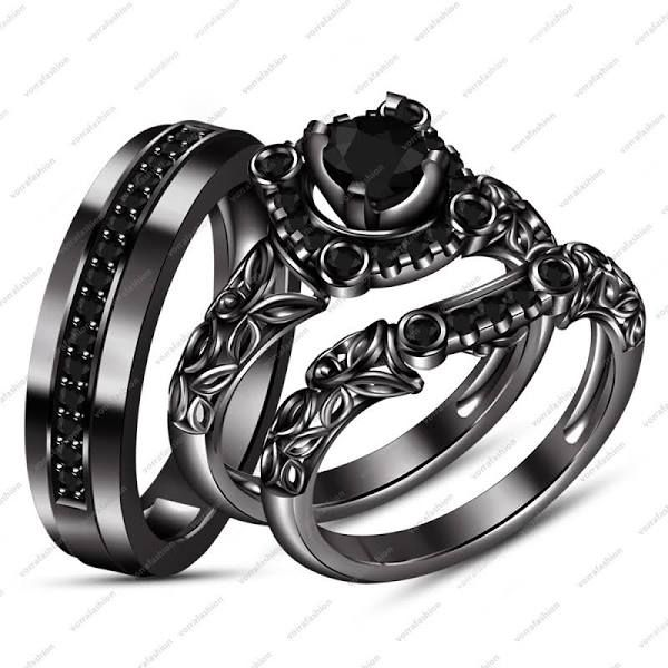 black gold wedding rings his and hers | Wedding ring trio sets .