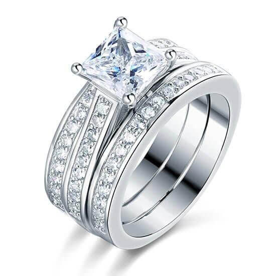 womens wedding ring sets,Italo Classic Created White Sapphire 3PC .