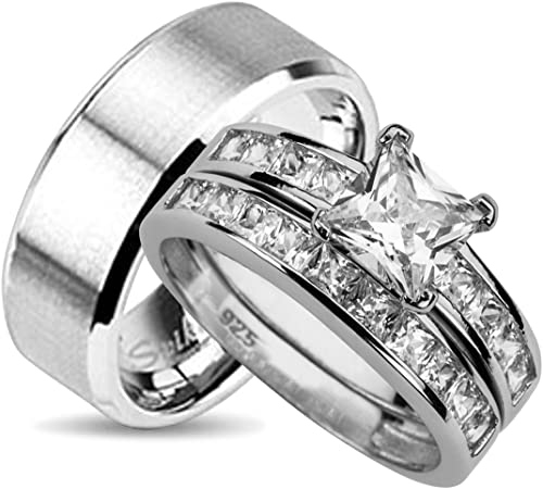 His and Her Wedding Ring Sets Matching Bands for Him and Her (10 .