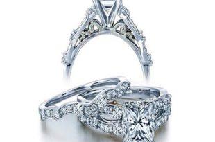 JeenJewels - 1 Carat Vintage Princess Diamond Wedding Ring Set .