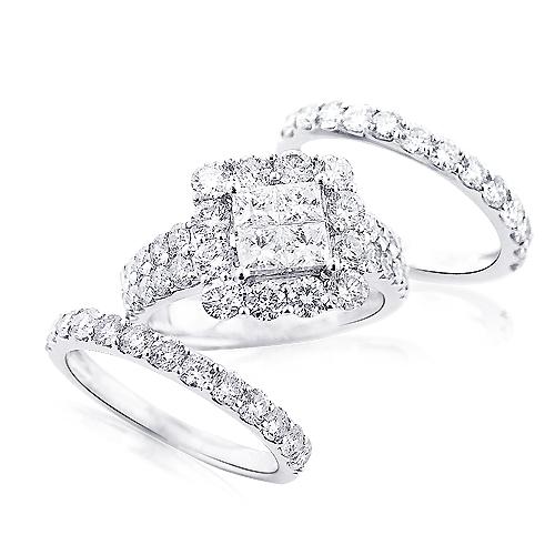 Trio Wedding Ring Sets: 14K Gold Diamond Ring Set 4.63