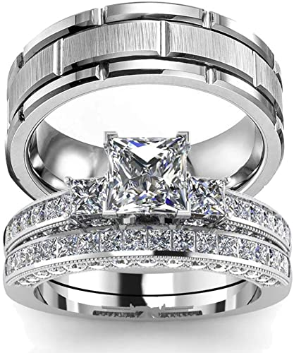 Amazon.com: wedding ring set Two Rings His Hers Couples Matching .