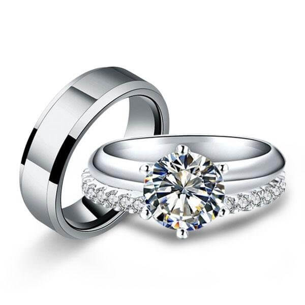Cheap Wedding Rings Sets,Italo Classic Solitaire Created White .
