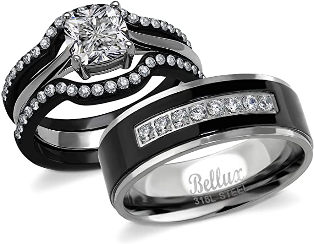 Bellux Style His and Hers Wedding Engagement Promise Rings for .