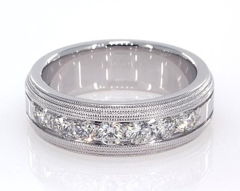 wedding rings, mens diamond, 18k white gold men's triple milgrain .