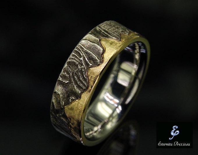 7mm Unique Mens Wedding Band , Rustic Wedding Ring, Men's Wedding .