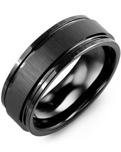 Men's Satin Center Polished Edges Ceramic Wedding Ring in Black .