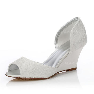 Women's Peep Toe Sandals Dyeable Shoes Wedge Heel Lace Satin Yes .