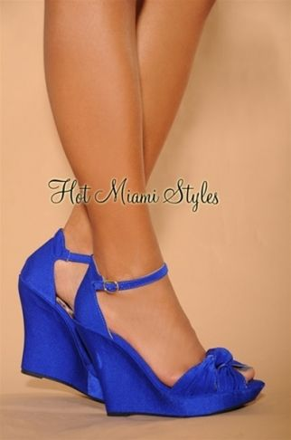 Royal-Blue Knotted Front Ankle Strap Wedge Sandals | Wedding shoes .