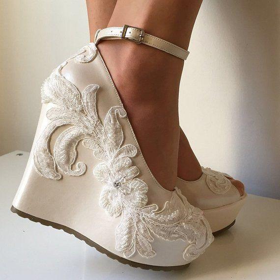 Wedding ,Wedding Wedge Shoes, Bridal Wedge Shoes,Bridal Shoes .