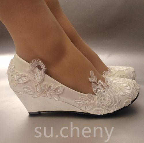 Details about su.cheny White light ivory lace Wedding shoes flat .