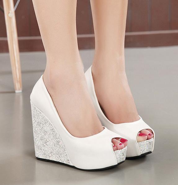 New White Wedge Heel Bride Wedding Shoes Blue Peep Toe High Heel .