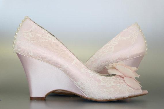 Custom Wedding Shoes -- Blush Wedge Peep Toe Wedding Shoes, Ivory .
