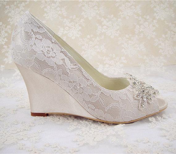 Wedding Shoes, Peeptoe Bridal Shoes, Rhinestone Wedge Shoes .