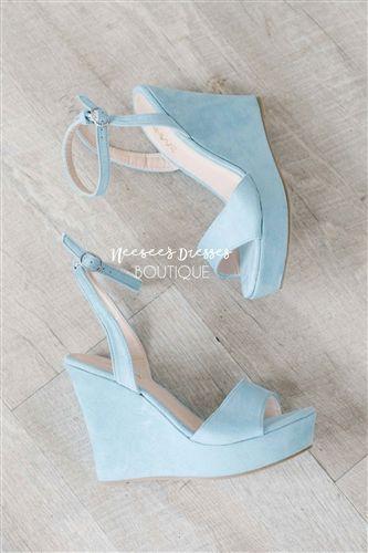 Dusty Blue Wedges | Wedge wedding shoes, Manolo blahnik heels .