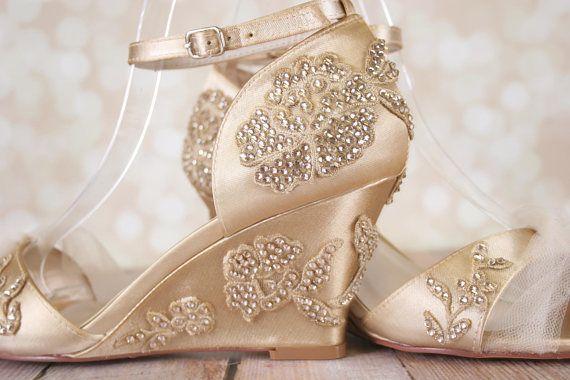 Champagne Wedding Shoes, Vintage Wedding, Art Deco Wedding .