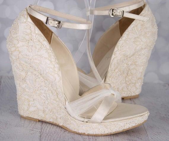 Lace Wedding Shoes Ivory Wedding Shoes Ivory Lace Wedges | Et