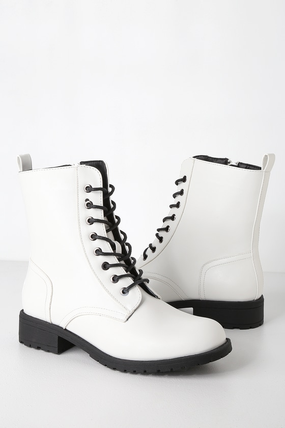 Cute White Boots - Combat Boots - White Combat Boo