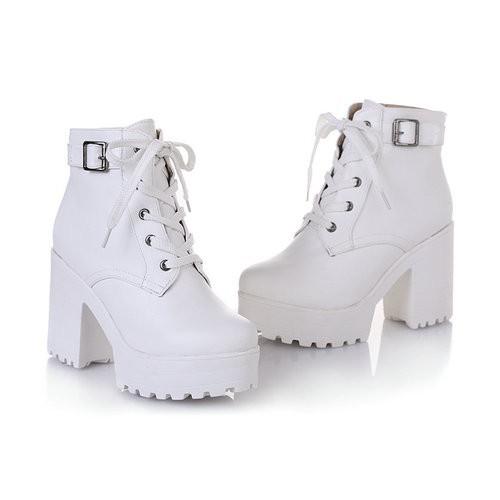 Platform Boots White - SugarSweet.