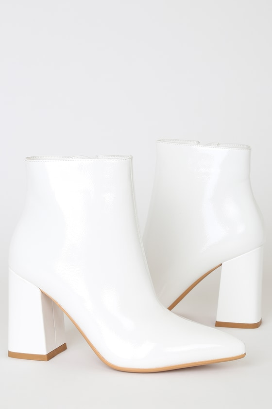 Chic White Boots - Pointed-Toe Booties - Vegan Leather Boo