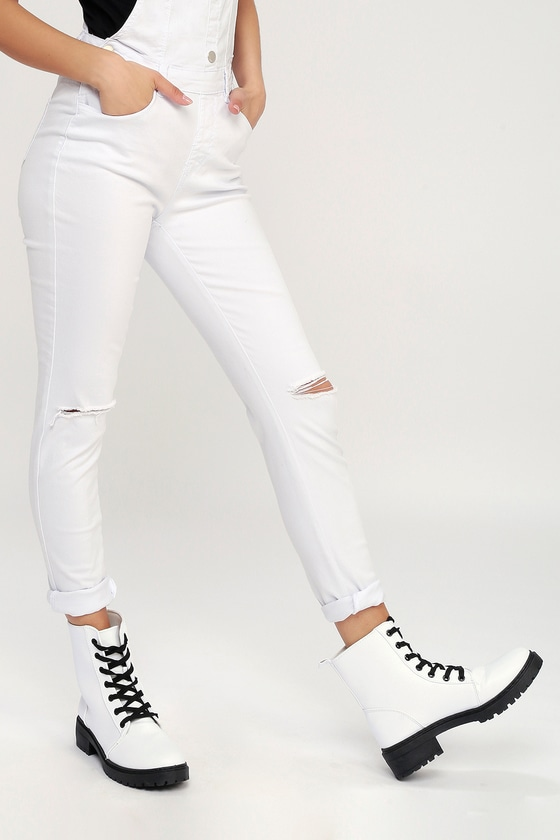 Cool White Boots - Combat Boots - Lace-Up Boo