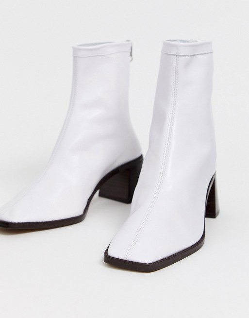 ASOS DESIGN Riverside leather kitten heel sock boots in white | AS