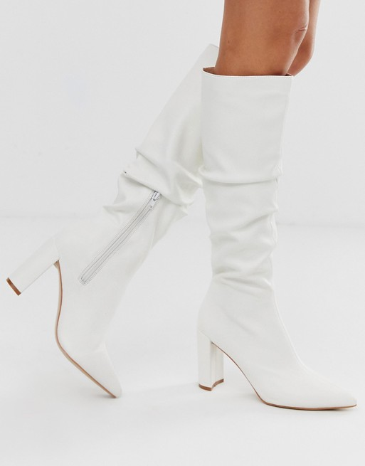 Public Desire Mine white slouch knee boots | AS