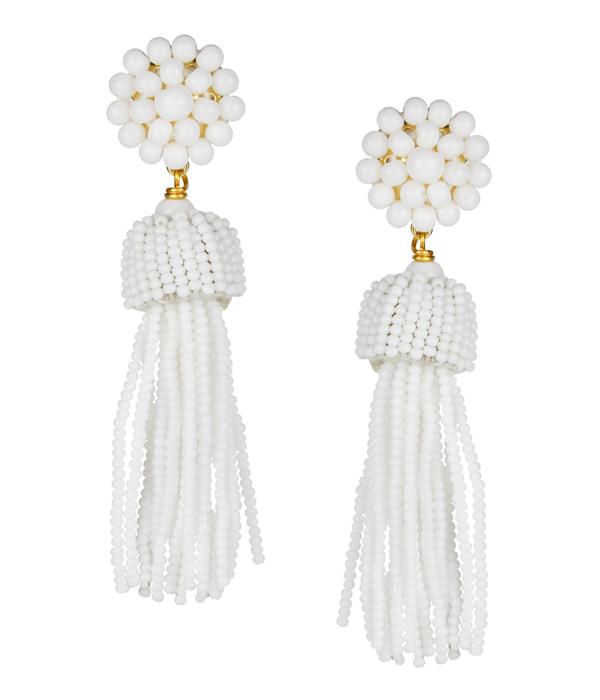 Tassel Earrings White - Lisi Lerch | Classic Prep Monogra