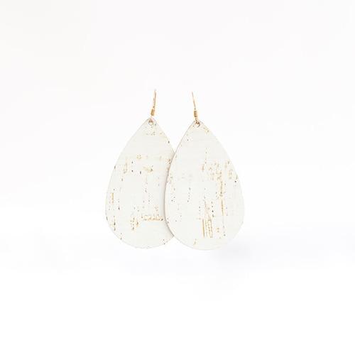 White Cork Leather Earrings | Nickel & Sue