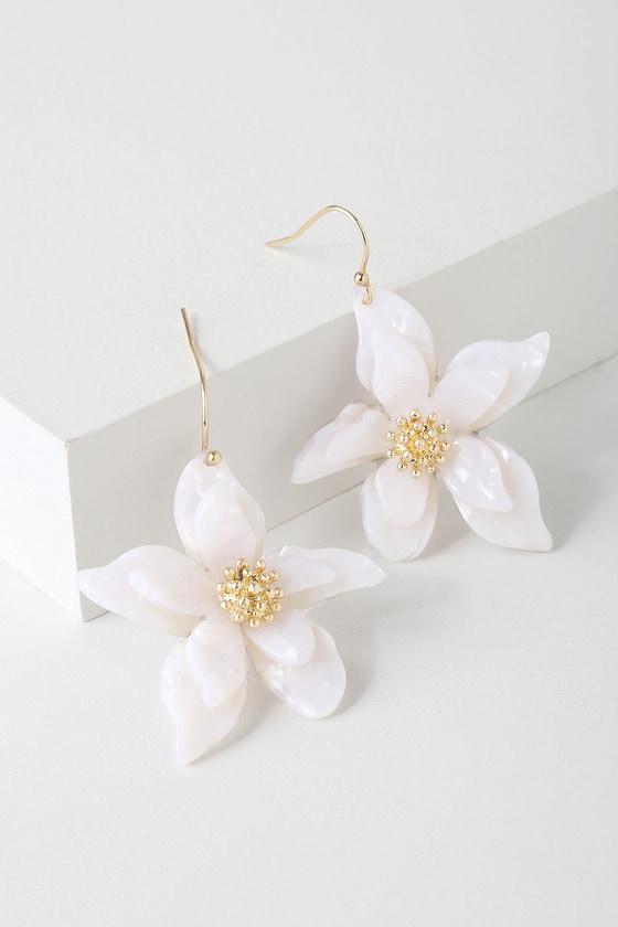 Cute Gold and White Earrings - Flower Earrings - Acetate Earrin