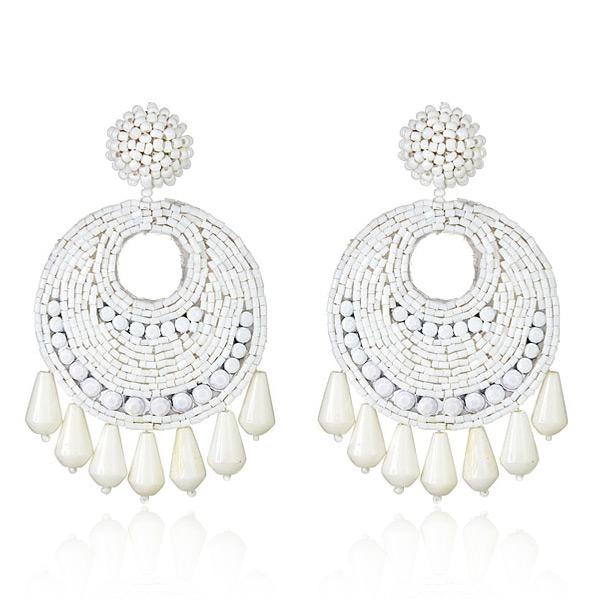 Kenneth Jay Lane White Gypsy Earrings | HAUTEheadquarte