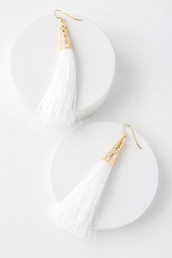 Chic White Earrings - Tassel Earrings - Fringe Earrin