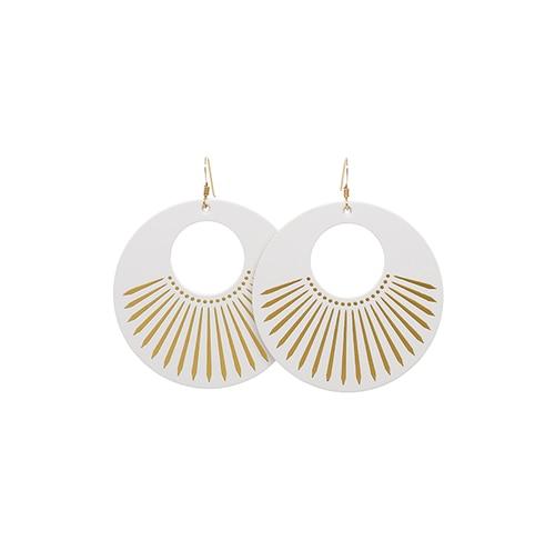 White Sunburst Nova Leather Earrings | Nickel & Sue