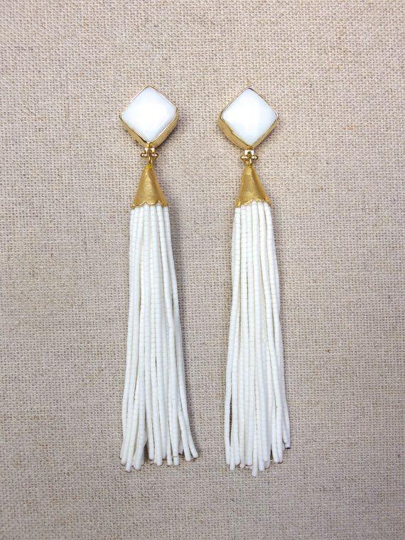 White Stud Beaded Tassel Earrings | Beaded tassel earrings, White .