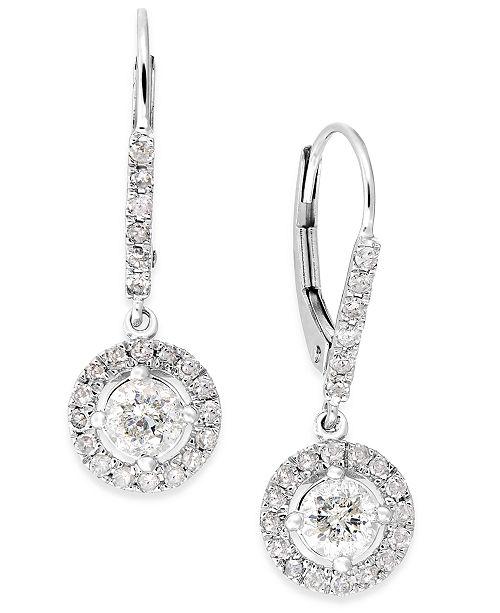 Macy's Diamond Dangle Drop Earrings in 14k White Gold (1 ct. t.w. .