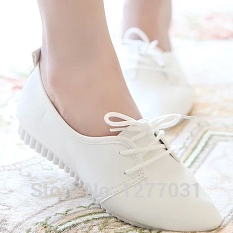 Student Girls Small Solid White Flat Shoes Women Pointed Toe Lace .