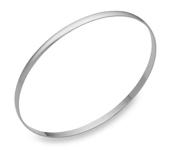 14K White Gold Bangle Bracelet, 2