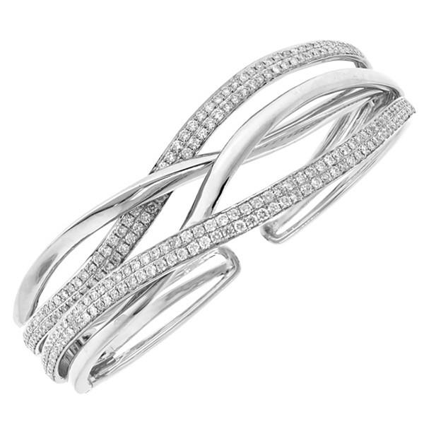 Bangle bracelet cuff with pavet diamonds in white gold. Also .