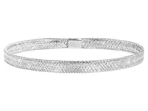 10k White Gold Mesh Link Bangle Bracelet 7 inch - CNG891W | JTV.c