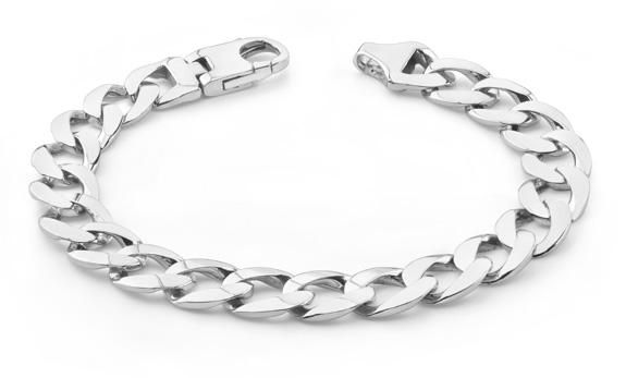 Men's 14K White Gold Curb Link Bracel