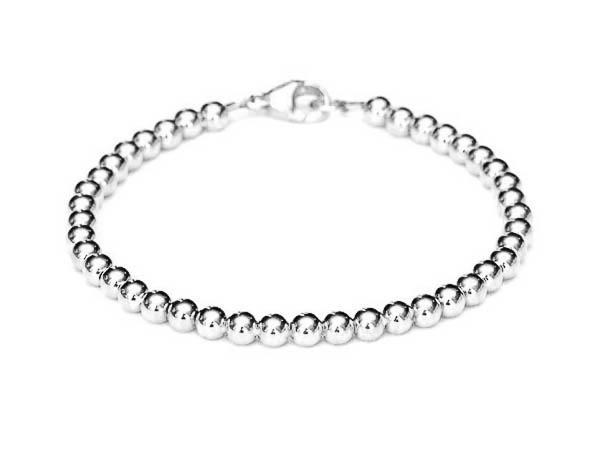 18k White Gold Bead Bracelet - Women and Men's Bracelet - 5mm .