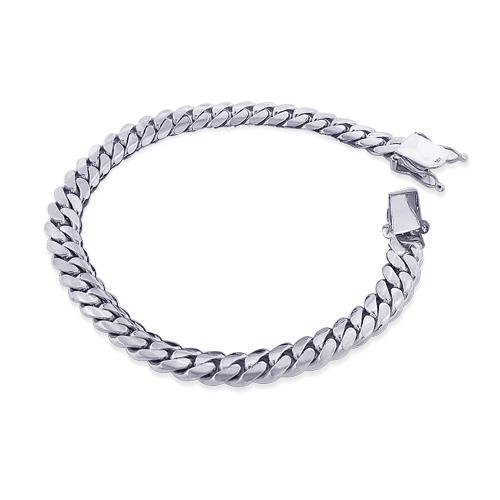 Mens White Gold Miami Cuban Link Curb Chain Bracelet 5.6mm .
