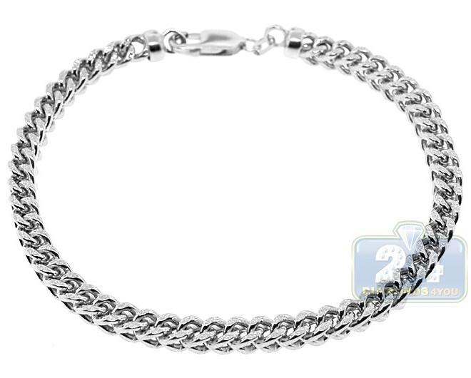 Real 10K White Gold Franco Diamond Cut Mens Bracelet 5mm 9.7