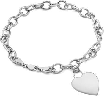 Rolo Heart Charm Toggle Bracelet, 14K White Go