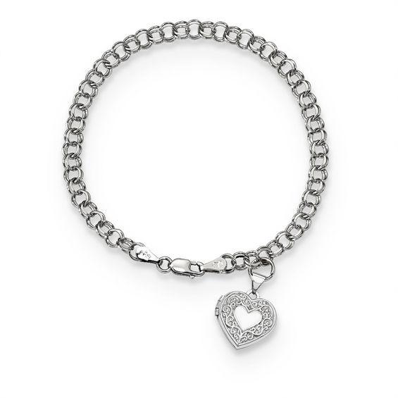 Etched Scroll Heart-Shaped Locket Charm Bracelet in 14K White Gold .